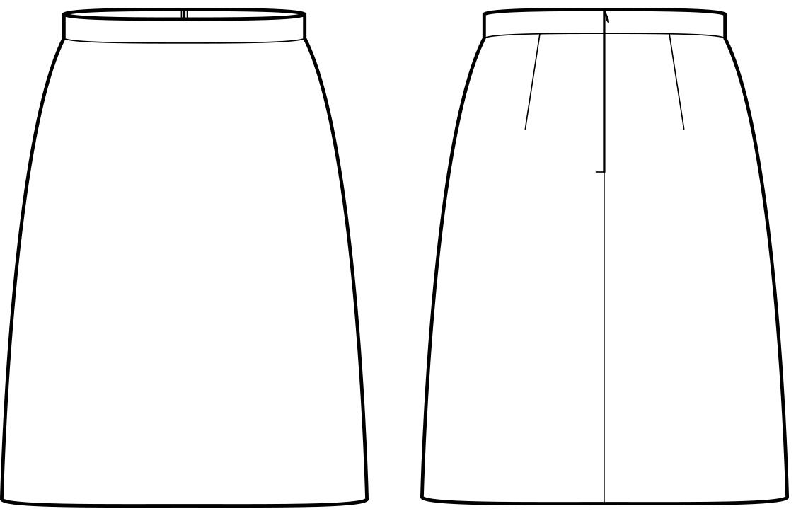 Vorder- und Rückansicht der technische Zeichnung eines aufgestellten Rockes
