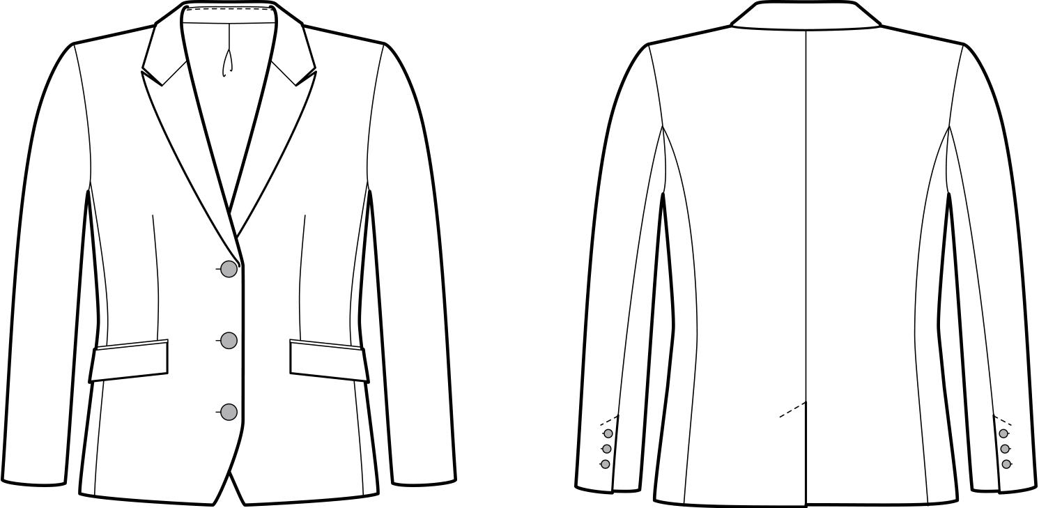 Vorder- und Rückansicht der technische Zeichnung eines Balzers mit Seitennaht
