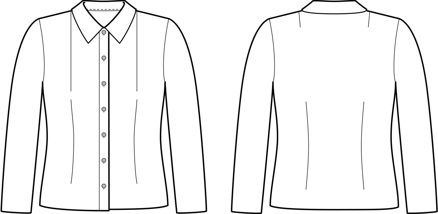 Vorder- und Rückansicht der technische Zeichnung einer Bluse mit Abnäher