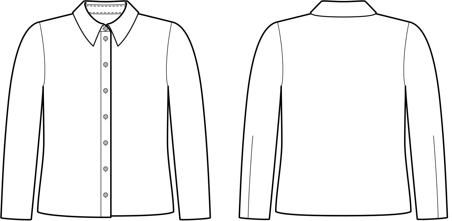 Vorder- und Rückansicht der technische Zeichnung einer Bluse ohne Abnäher