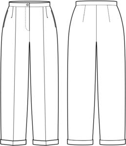 Vorder- und Rückansicht der technische Zeichnung einer Bundfaltenhose