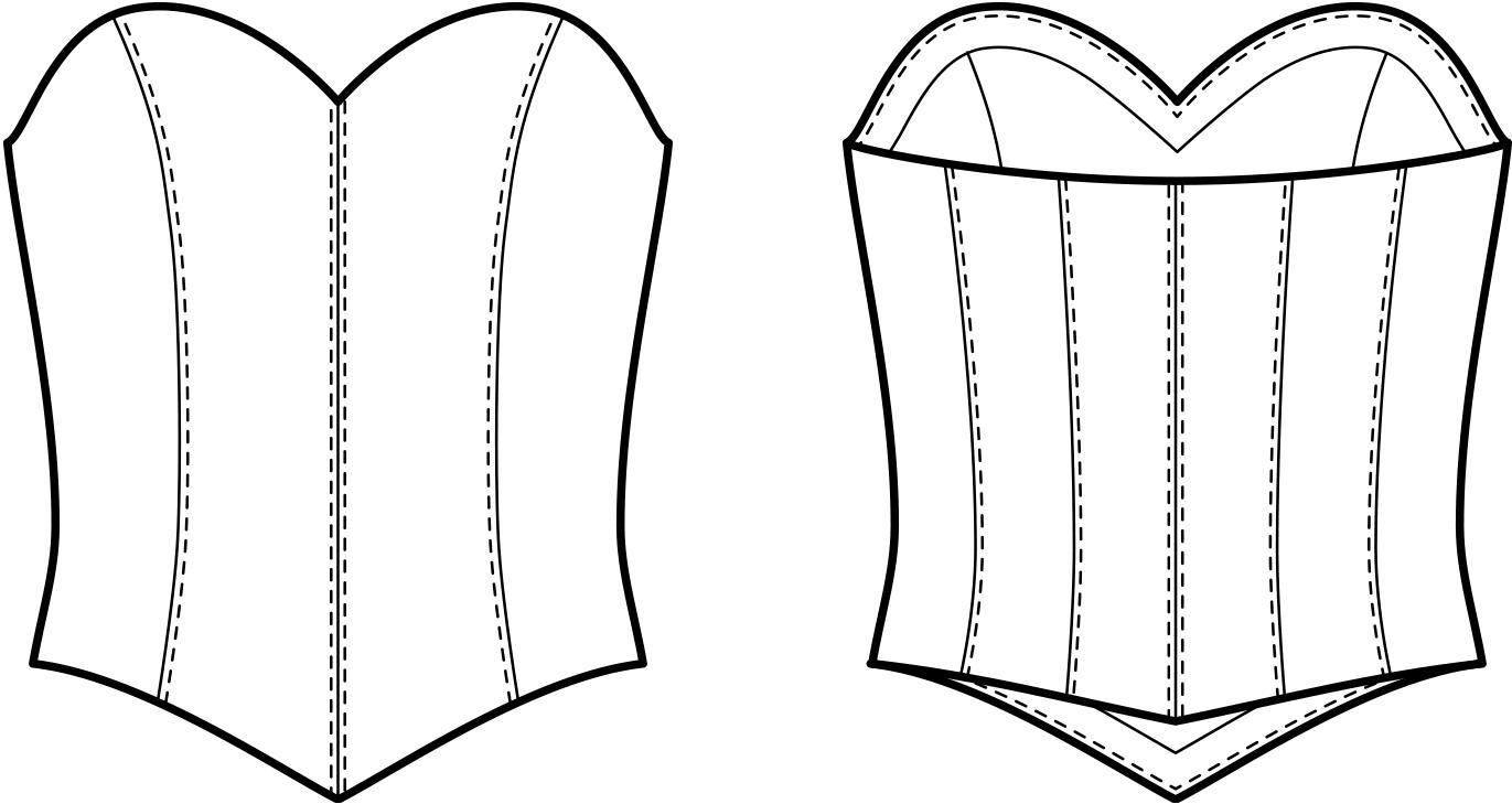 Vorder- und Rückansicht der technische Zeichnung einer Korsage