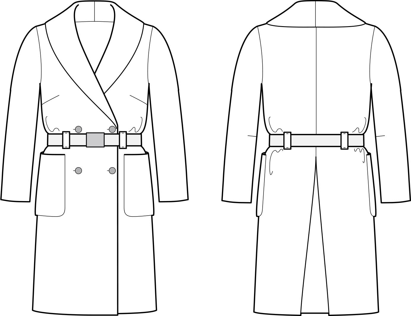 Vorder- und Rückansicht der technische Zeichnung eines Doppelreiher