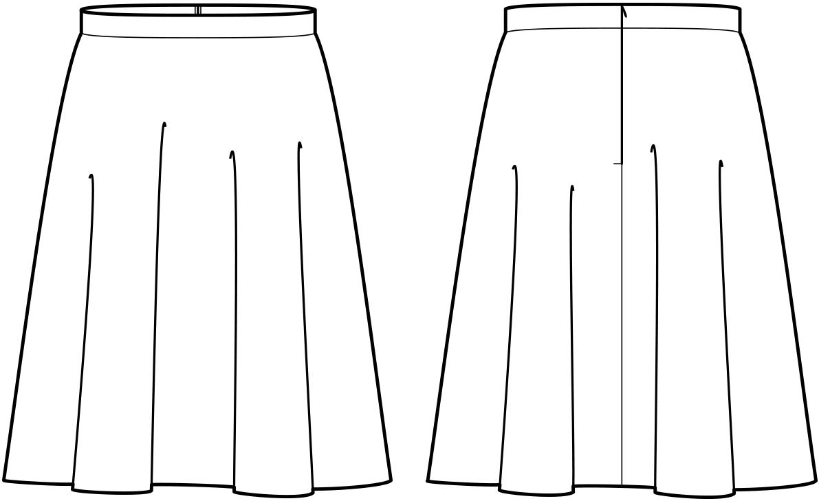 Vorder- und Rückansicht der technische Zeichnung eines Drittel Tellerrockes