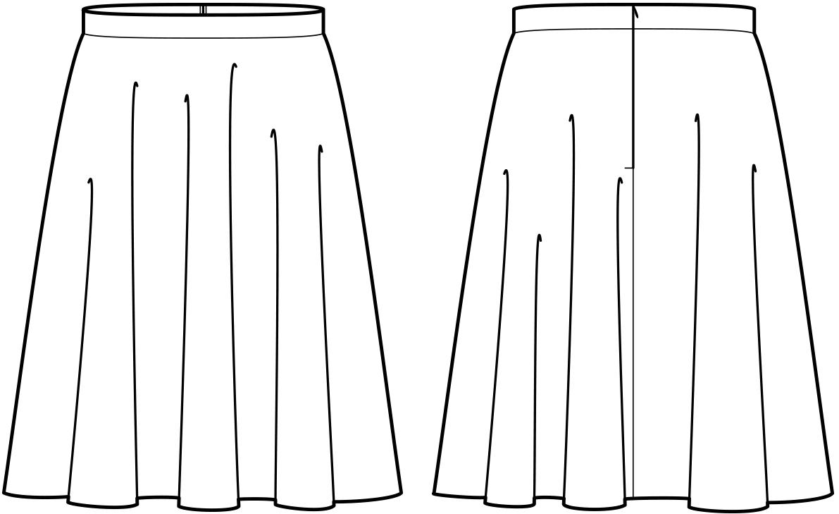Vorder- und Rückansicht der technische Zeichnung eines halben Tellerrockes
