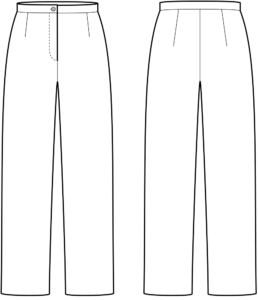 Vorder- und Rückansicht der technische Zeichnung einer Hose
