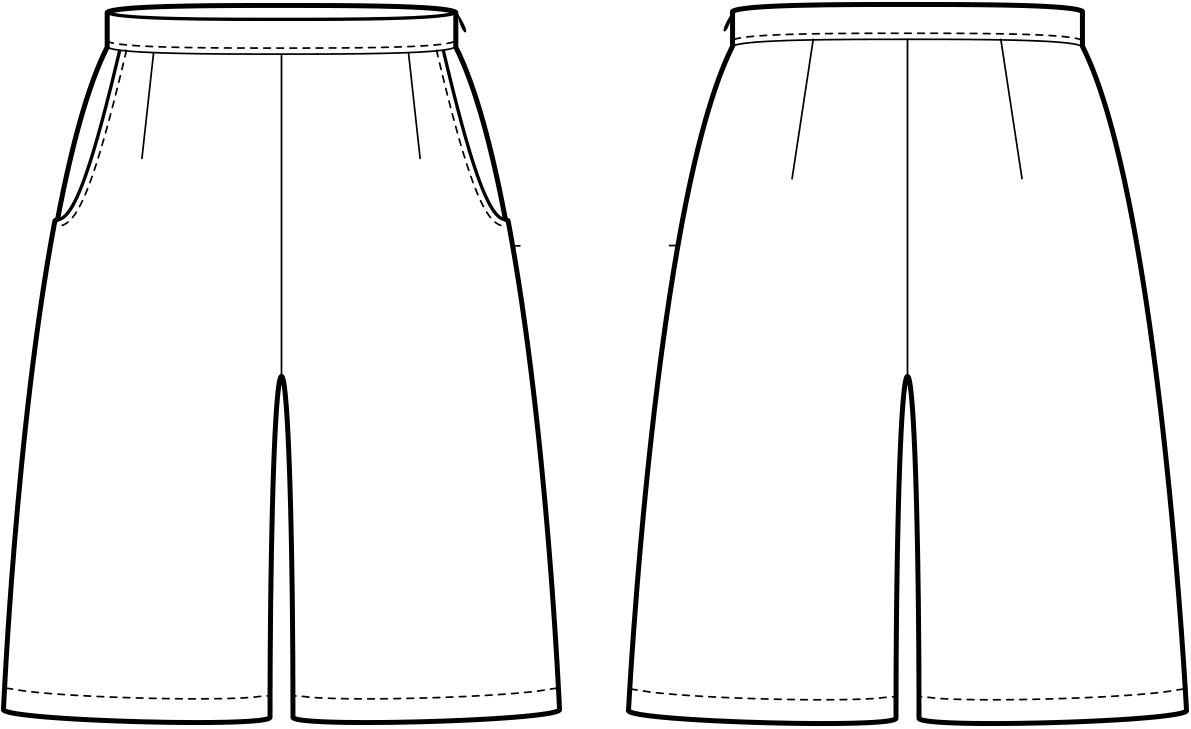 Vorder- und Rückansicht der technische Zeichnung eines Hosenrockes