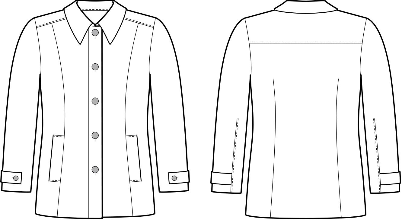 Vorder- und Rückansicht der technische Zeichnung einer Jacke