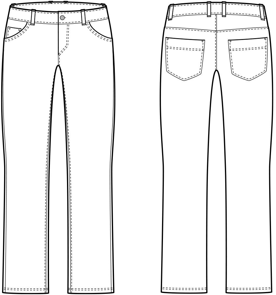 Vorder- und Rückansicht der technische Zeichnung einer Jeans