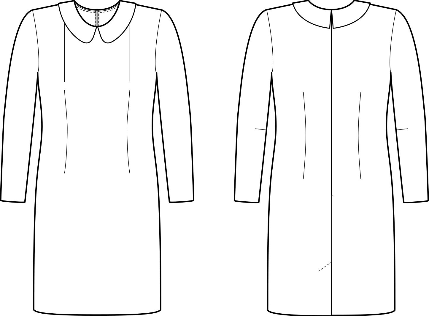 Vorder- und Rückansicht der technische Zeichnung eines Kleides mit Abnähern