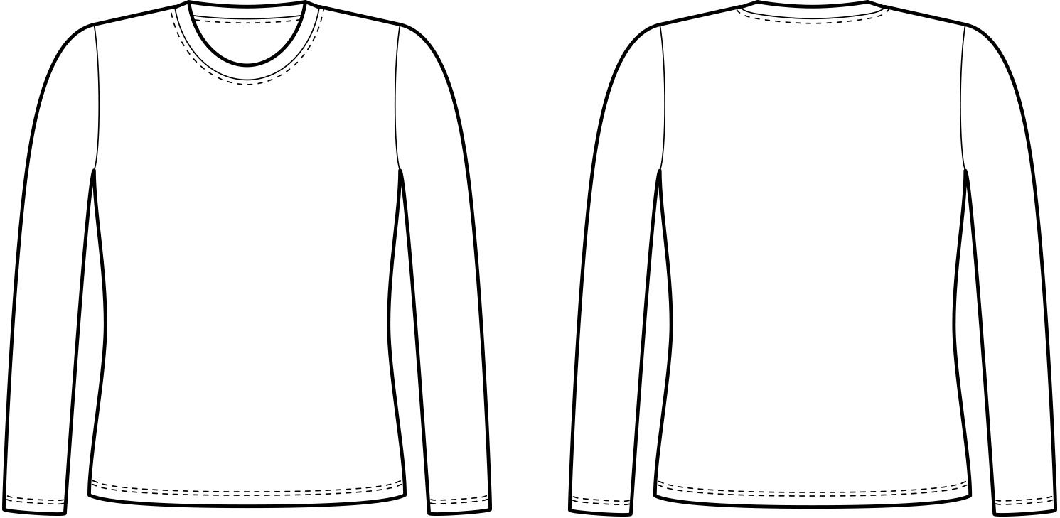 Vorder- und Rückansicht der technische Zeichnung eines Longsleeves
