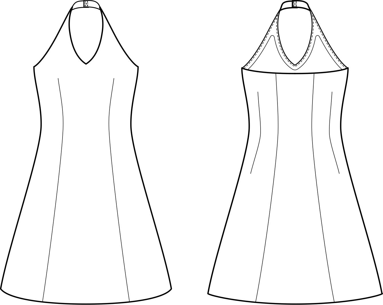 Vorder- und Rückansicht der technische Zeichnung eines Heckholder Kleides