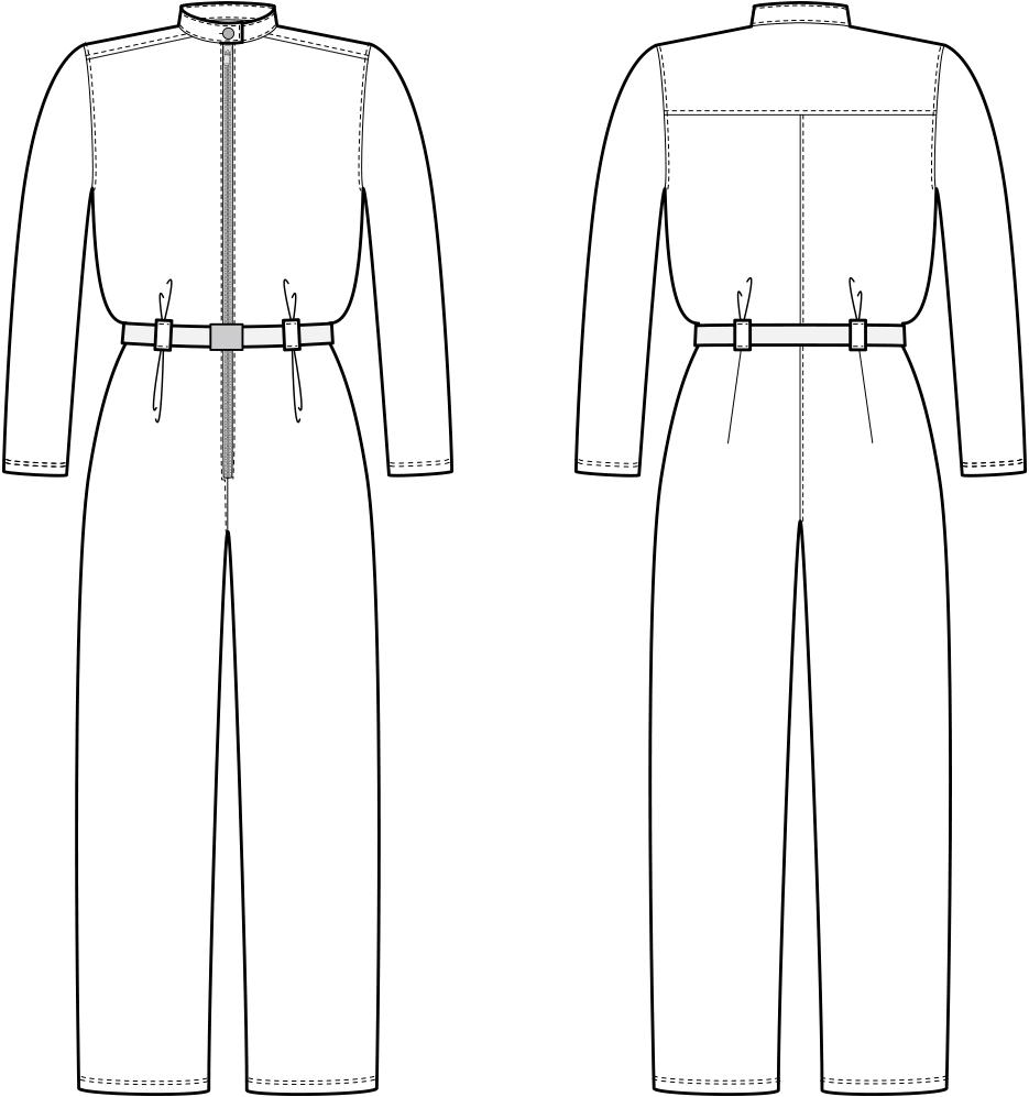Vorder- und Rückansicht der technische Zeichnung eines Overalls