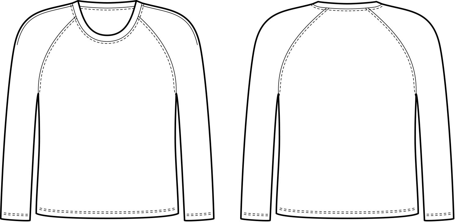 Vorder- und Rückansicht der technische Zeichnung eines Ragland Shirts