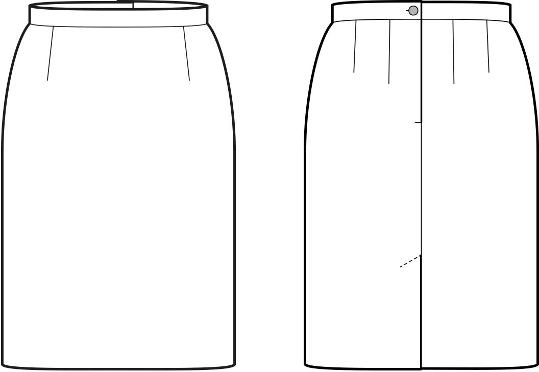 Vorder- und Rückansicht der technische Zeichnung eines Rockes