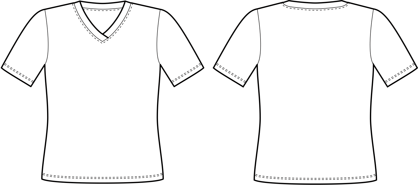 Vorder- und Rückansicht der technische Zeichnung eines T-Shirts