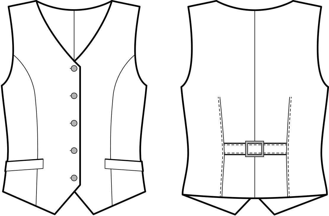 Vorder- und Rückansicht der technische Zeichnung einer Weste