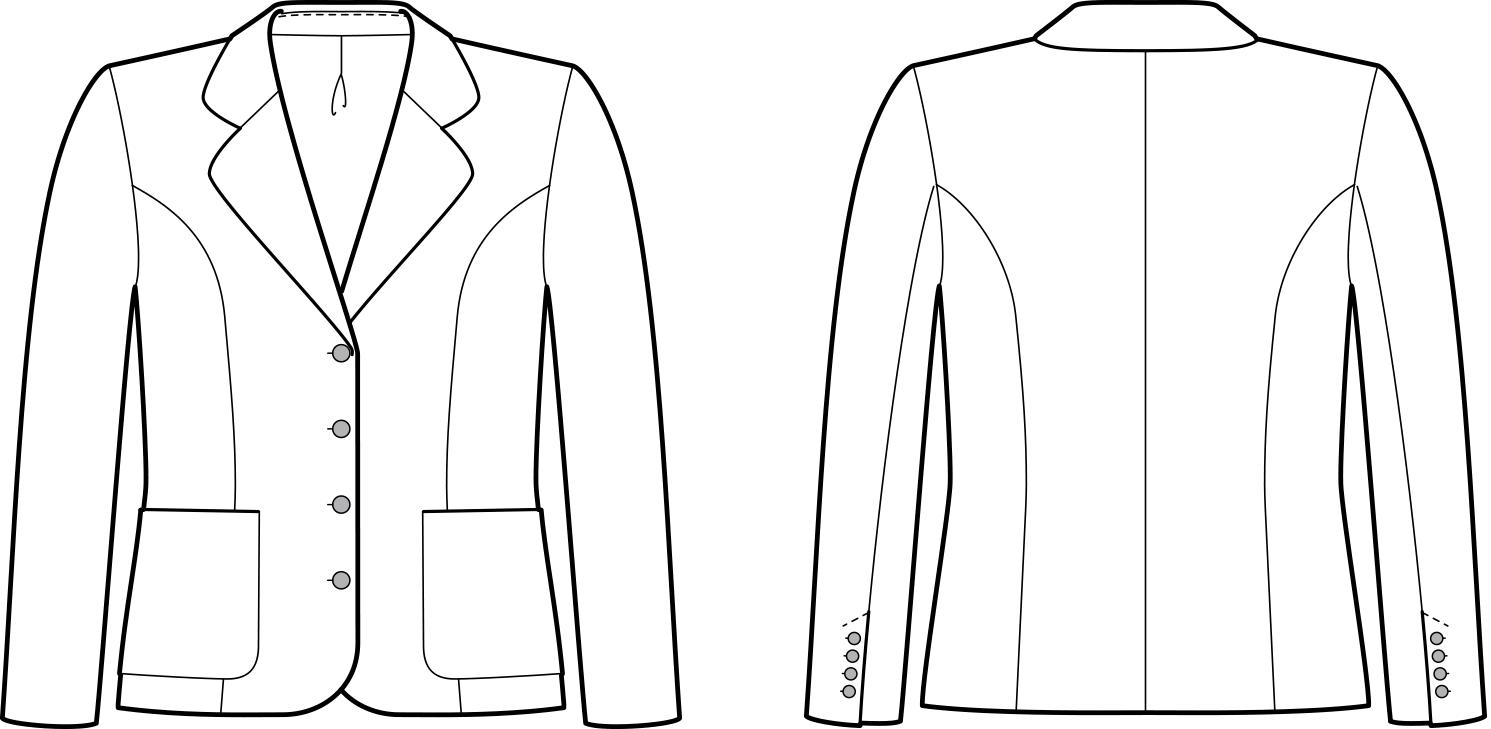 Vorder- und Rückansicht der technische Zeichnung eines Blazers mit Seitenteil