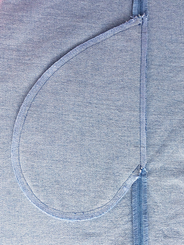 Die Ansicht einer Nahttasche von der linken Seite