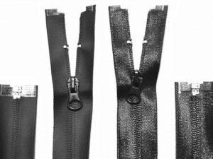 Abbildungen wasserdichter Reißverschlüsse zur Veranschaulichung in schwarz.