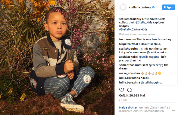 Instagram Post für die Stella McCartney Kids Kollektion
