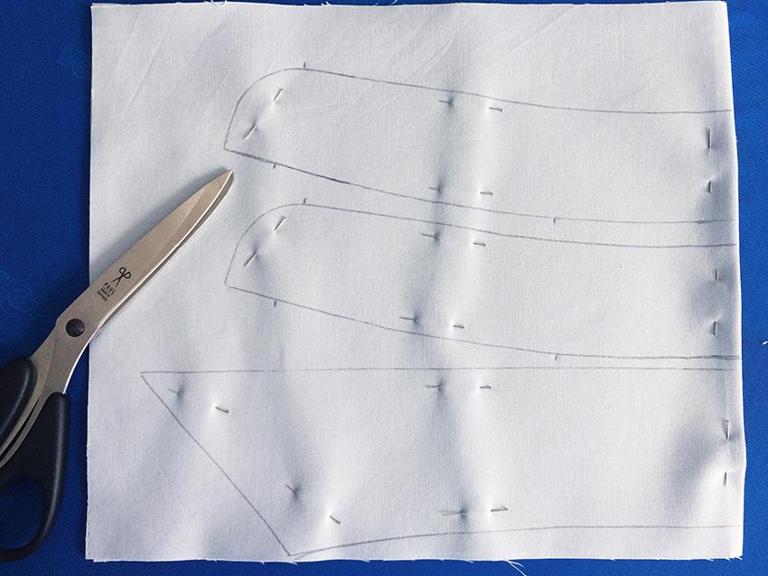 Die beiden Stegteile und der Unterkragen werden auf den mit Einlage fixierten Stoff genadelt und ausgeschnitten.