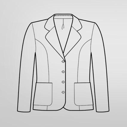 Die technische Zeichnung eines Blazers ist abgebildet. Der Umriss ist der Fasson.