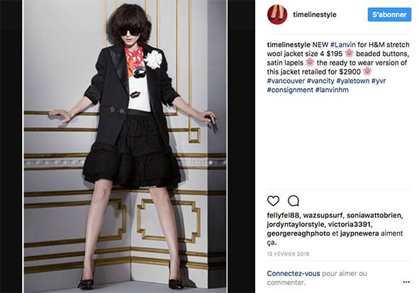 Instagram Bild: Lanvin für H&M. Gezeigt wird ein Kampagnenbild mit einem Blazer und Rock