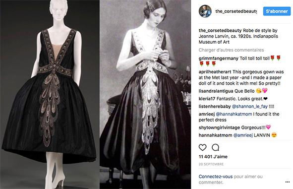 Instagram Bild mit dem Stilkleid aus den 20gern im Vergleich mir einer Nachbildung von heute.