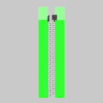 Ein teilbarer Reißverschluss ist als technische Zeichnung abgebildet.