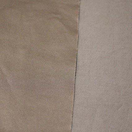 Die rechte und linke Stoffseite eines Stoffes sind abgebildet.