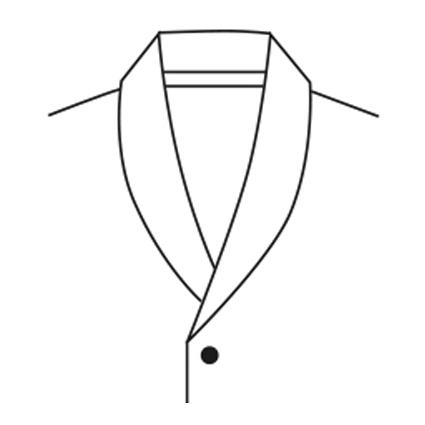 Eine technische Zeichnung eines Schalkragens ist abgebildet.